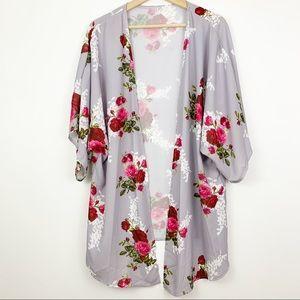 Sweaters - Kimono Cardigan with Rose Floral Print